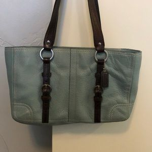 Coach purse - soft blue and brown leather